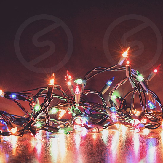 colored christmas light turned on photo