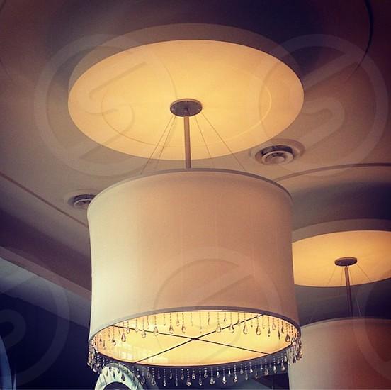 Drum Shade Drum Light Chandelier Crystal White Minneapolis Wedding Reception Home Decor Lighting photo