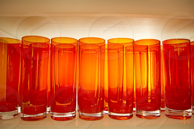 Glassware orange back light stock glass pattern photo