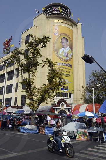 a pictures of the King Bhumibol near the democracy monument in Banglamphu in the city of Bangkok in Thailand in Southeastasia. photo