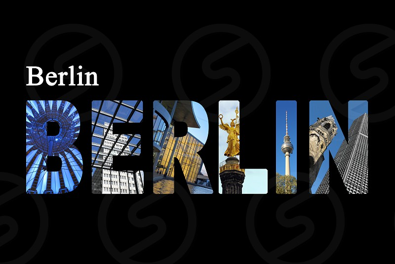 Berlin letters with sightseeing points on black background. photo