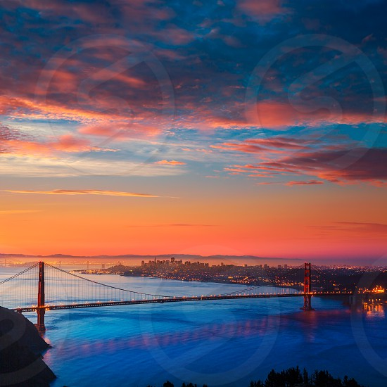 San Francisco Golden Gate Bridge sunrise California USA from Marin headlands photo
