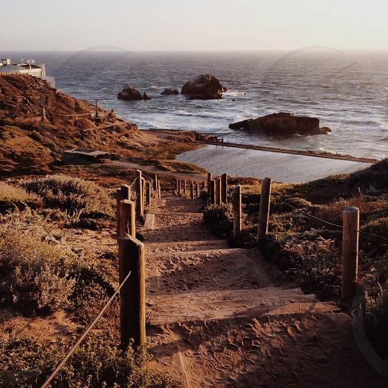 pathway leading to sea photo