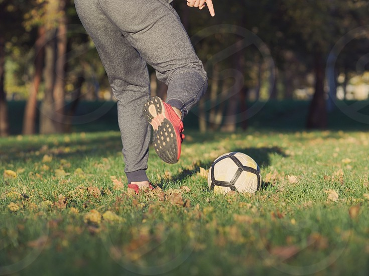 Soccer Player Kicking Football in the Park on a Sunny Autumn Day photo