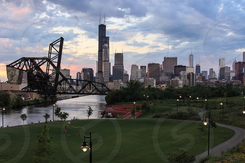 Chicago Skyline Summer sunset windy city sears tower bridge park bike trail photo