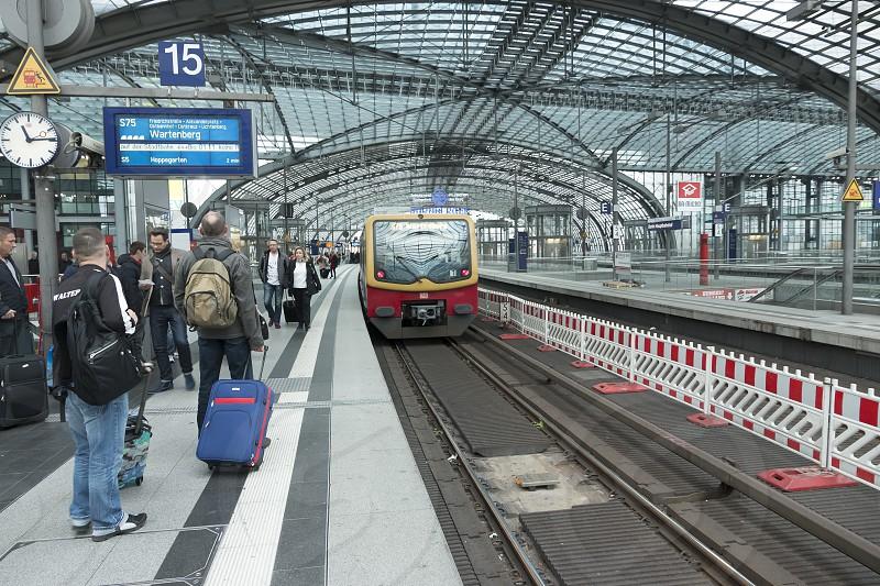 Train approaching at platform 15 on the upper deck of the Berlin Hauptbahnhof in Berlin. photo