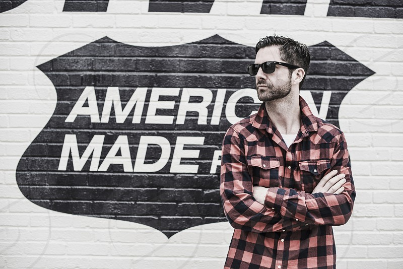 Man Portrait American Made Los Angeles USA California Sunglasses Ray Ban photo