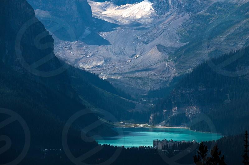 mountain glacial blue lake photo