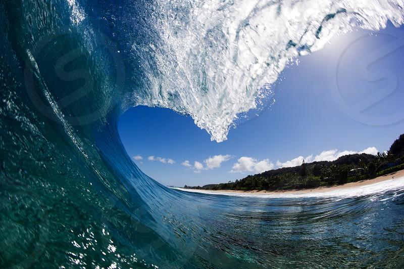 Pipeline surfing barrel tube pov  photo