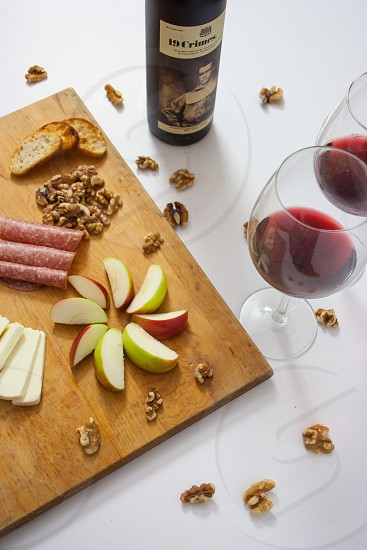 Wine with Meat and Cheese Plate. photo