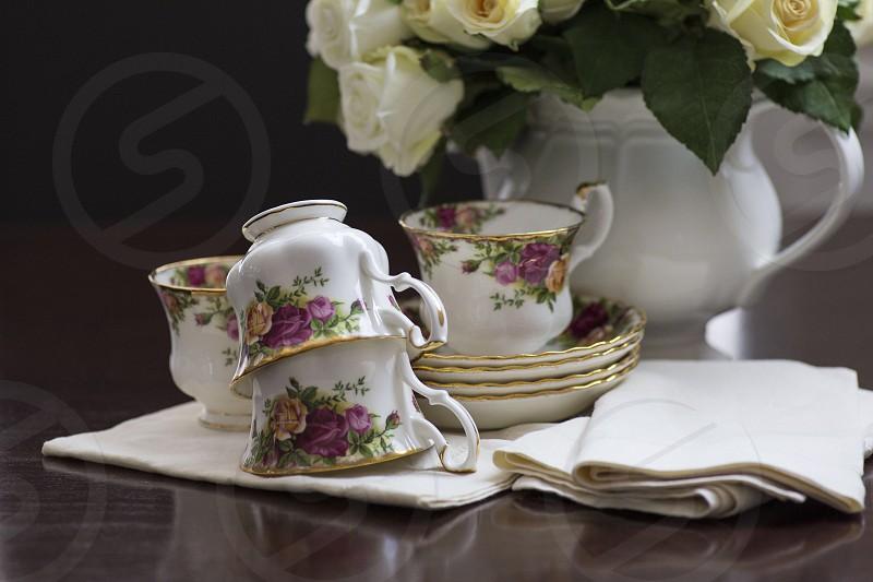Vintage tea cups and saucers vintage napkins photo
