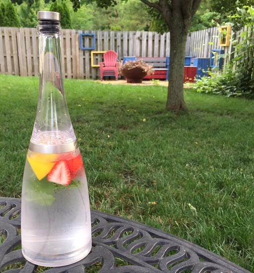 Infused water; strawberries; sweet mint; lemon; water; refreshing drink; beverage; summer; backyard photo