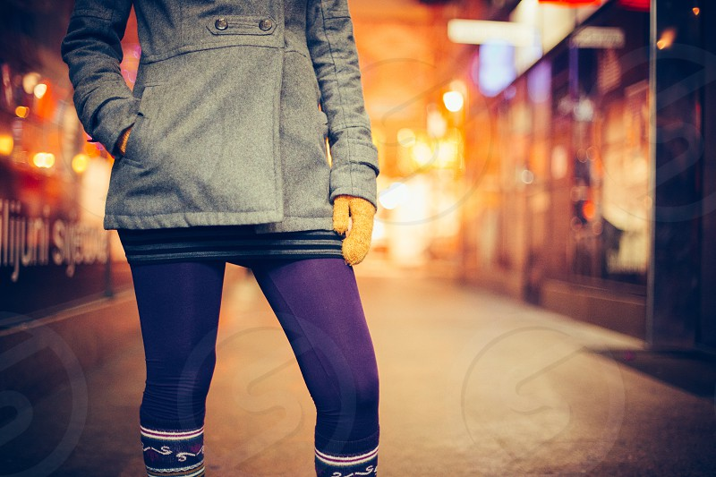 winter clothing girl coat woolen gloves tights stockings photo