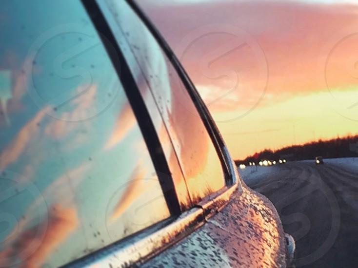 Car rain window street road traffic sunset photo