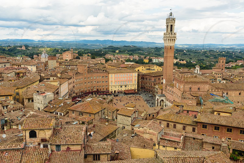 """Aerial view of Siena with the famous """"Torre del Mangia"""" photo"""