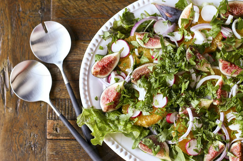 Orange & date salad with figs figs salad fresh photo