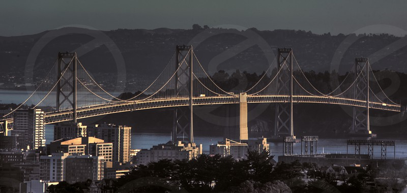 The San Francisco Bay Bridge as photographed from Bernal Hill 2011. photo