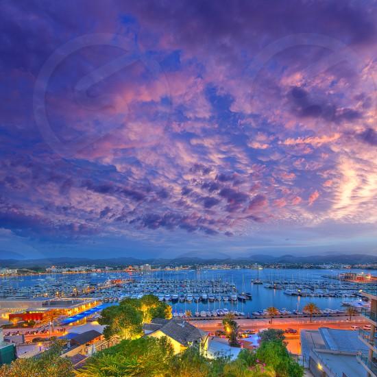 Ibiza San Antonio Abad Sant Antoni Portmany sunset in Balearic islands photo