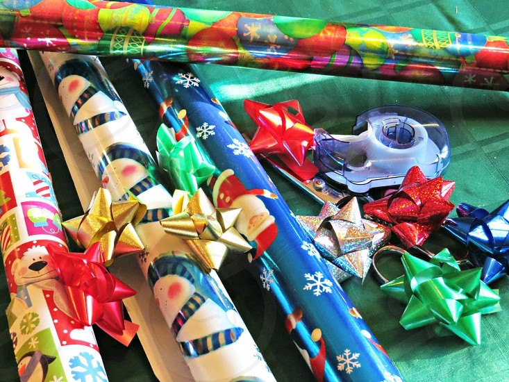 Christmas gift wrap holiday bows photo
