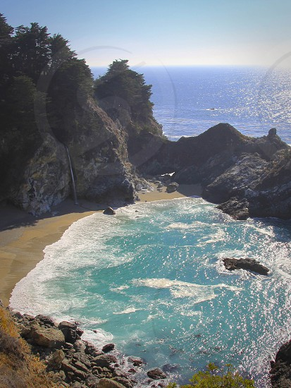 Big Sur Coast California Water Sea Ocean Rocks Cliffs photo