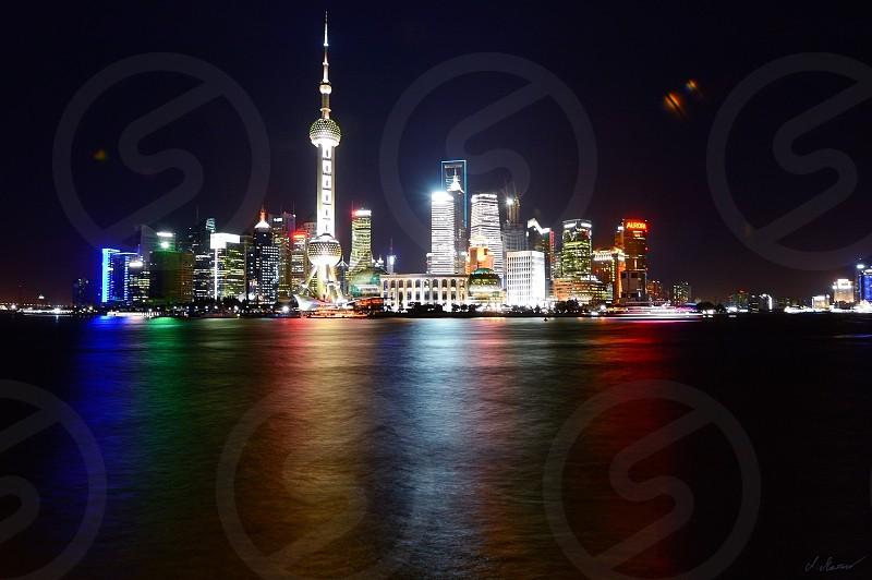 skyline Shanghai night colors photo