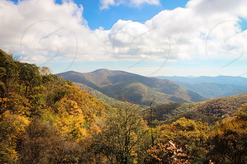 Blue Ridge Mountains North Carolina. Beautiful mountain views in the fall.  photo