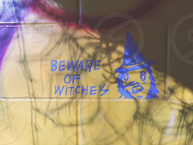"""Beware of Witchez"" in Graffiti on the Wall of an Abandoned Building in Bloomington Indiana photo"