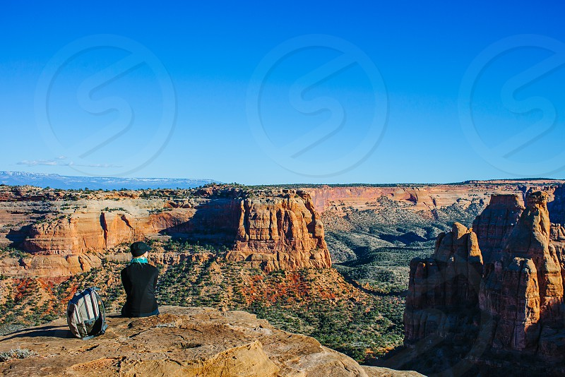 First hike of spring! Taking a break to look out over Colorado National Monument. photo