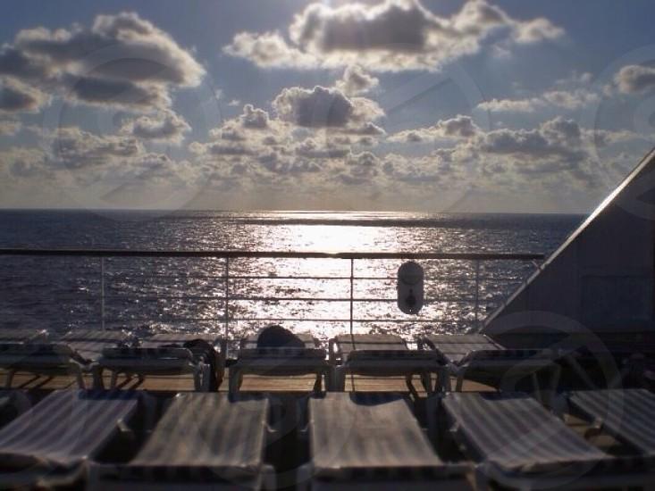 beach lounge chair on cruise ship deck photo