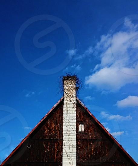 symmetry chimney window creative cloud folk architecture photo