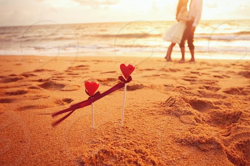honeymoon on the beach loving couple after wedding photo