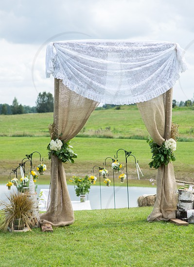 Wedding ceremony place outdoor photo