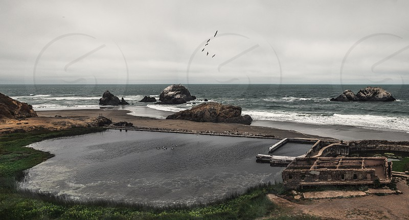 A hi-res panoramic view of the Sutro Baths ruins in San Francisco California.  photo