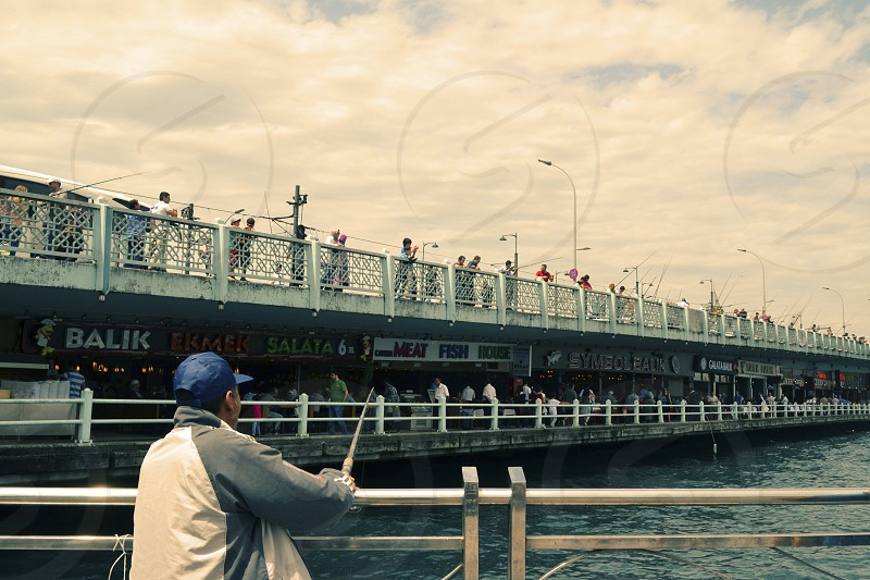Fishing from Galata Bridge  photo