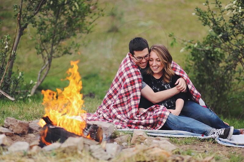 Plaid bonfire love photo