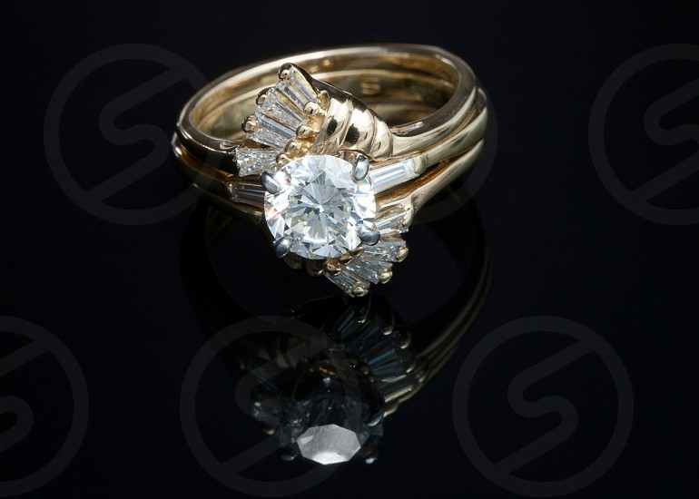 gold with diamond studded ring photo