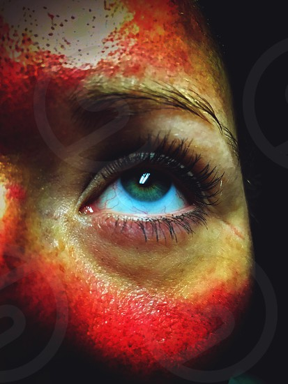 Eye eyeball face iris blue horror macabre blood gore macro close up portrait woman girl skin red photo