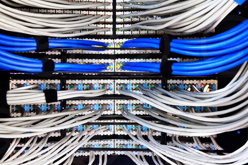 white and blue cords photo