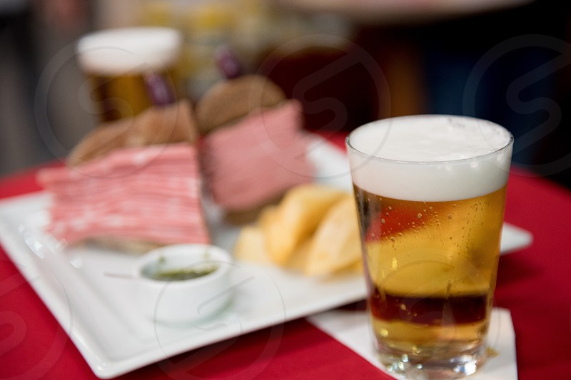 Draft beer and sandwich happy hour photo