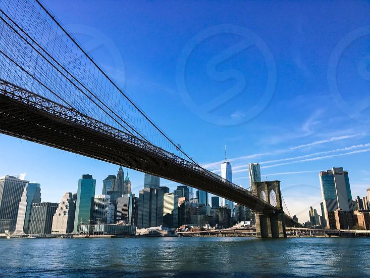 New York Brooklyn Bridge winter sunny photo