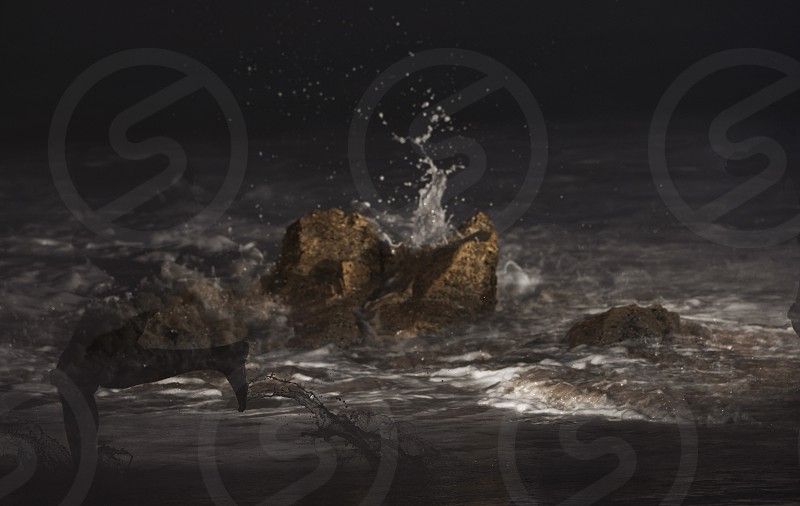 Fun times with splashy rocks at night. photo