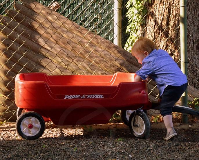boy climbing on pull cart photo