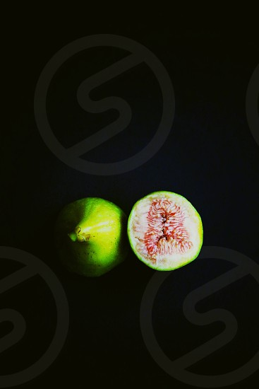 Fig fruit green pink inside ripe dry seeds healthy eating photo