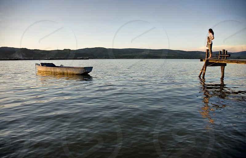 Silver Lake resort Danube river south of Belgrade Serbia across is Romania photo
