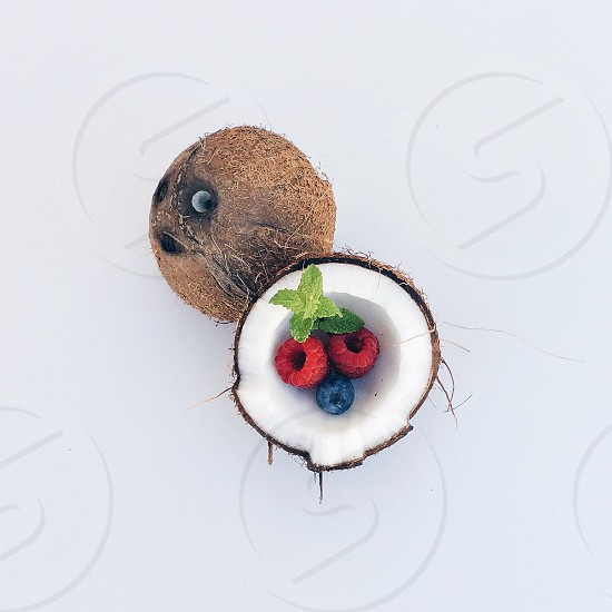 blueberry and raspberries on coconut photo