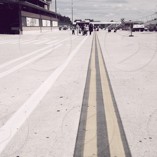 asphalt roadway near airport photo