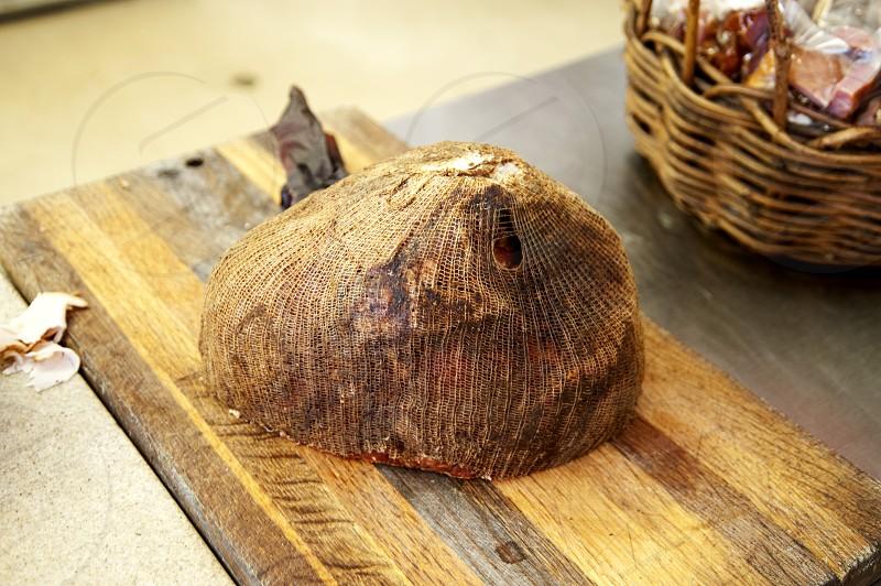 Smoked ham end on cutting board photo