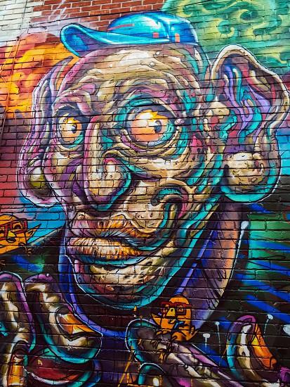 Outdoor day vertical portrait colour colourful multicolour multicoloured  bright brights vivid vibrant face old man art street art Graffiti cartoon animation Graffiti Alley west toronto Toronto Ontario Canada North America travel tourist tourism wanderlust photo