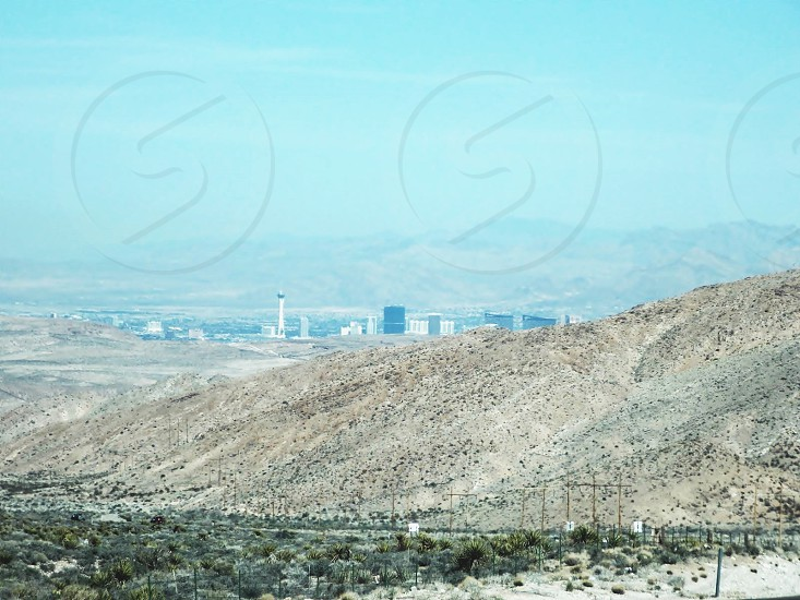 Looking East from mountains with Vegas Strip in background photo
