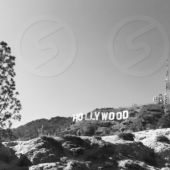 Los Angles California Hollywood hills  black and white  photo